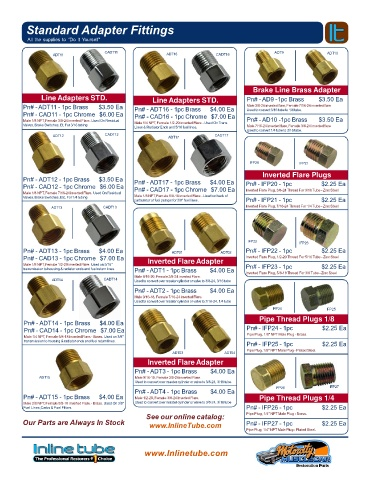 1//8 NPT Male 3//8-24 Inverted Flare Brake Line Adapter Brass Residual Valve 1pc