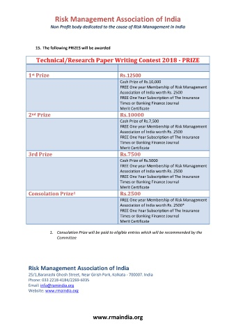 Risk Mangement Technical Paper Writing Contest 2018